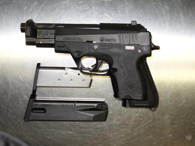 Overlay showing the relative size of a Beretta Nano to a full size Beretta 96G